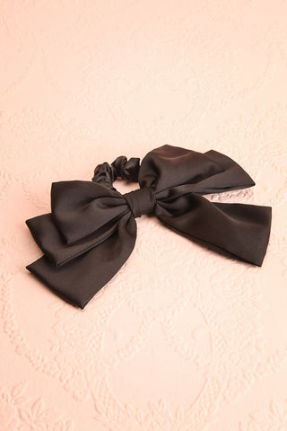 Rhinanthe Noir Black Satin Hair Scrunchie with Bow | Boutique 1861