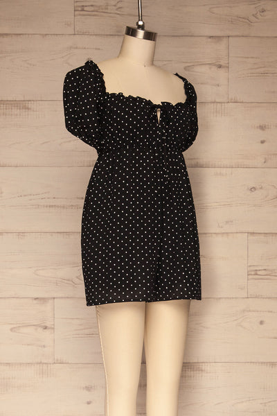 Rabka Black Polka Dot Short Sleeve Romper | La petite garçonne  side view