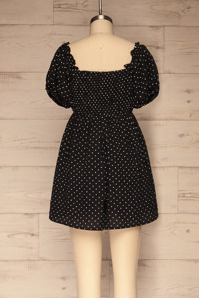 Rabka Black Polka Dot Short Sleeve Romper | La petite garçonne back view