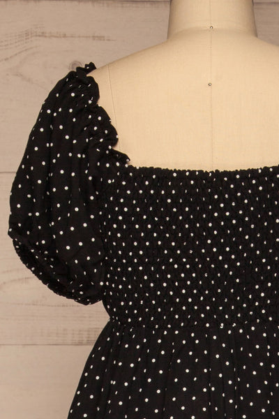 Rabka Black Polka Dot Short Sleeve Romper | La petite garçonne  back close-up
