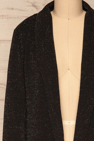 Raciborska Black Sparkly Blazer | La Petite Garçonne front close-up