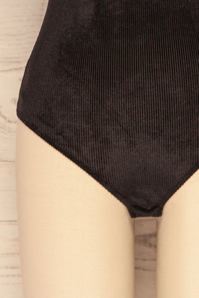 Raciborz Noir Black Ribbed Velvet Bodysuit | La Petite Garçonne bottom close-up