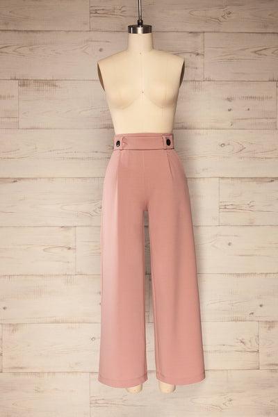 Radzymin Pink Wide Leg High-Waisted Pants | La petite garçonne front view