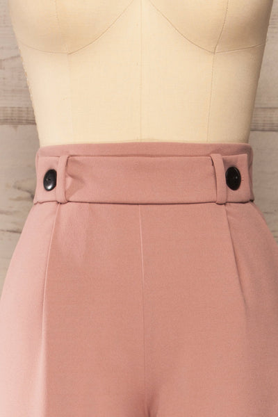 Radzymin Pink Wide Leg High-Waisted Pants | La petite garçonne front close-up