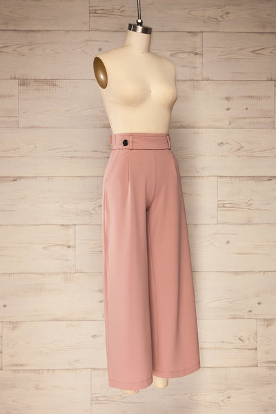 Radzymin Pink Wide Leg High-Waisted Pants | La petite garçonne side view