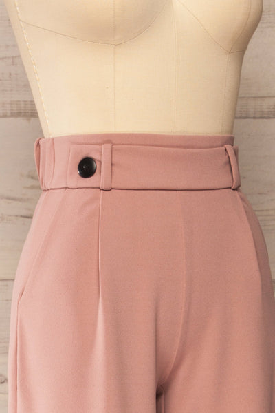Radzymin Pink Wide Leg High-Waisted Pants | La petite garçonne side close-up