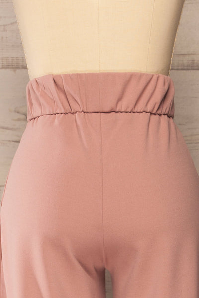 Radzymin Pink Wide Leg High-Waisted Pants | La petite garçonne back close-up