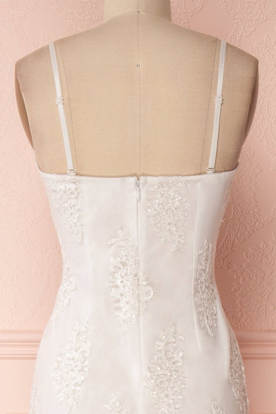 Raimere White Bustier Fitted Dress with Feather Train | Boudoir 1861