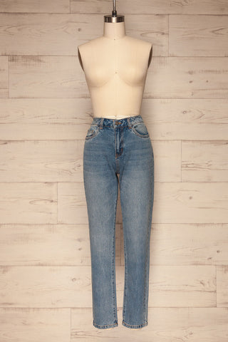 Ranchi Washed Blue High Waisted Straight Jeans | La Petite Garçonne front view