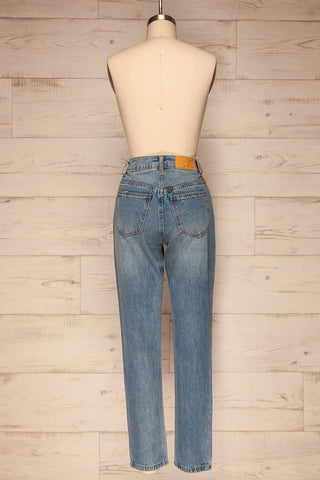Ranchi Washed Blue High Waisted Straight Jeans | La Petite Garçonne back view