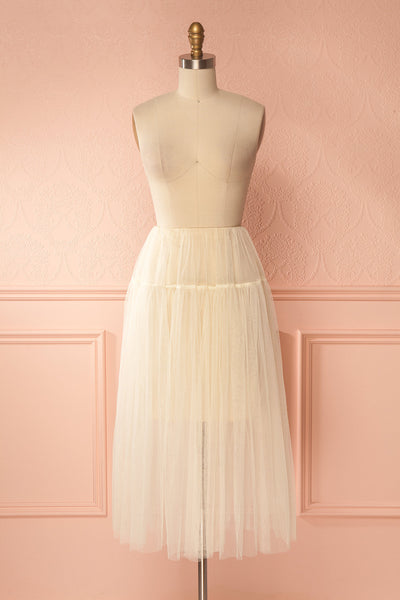 Raney Ivory Tulle Layered Midi Skirt | Boutique 1861 1