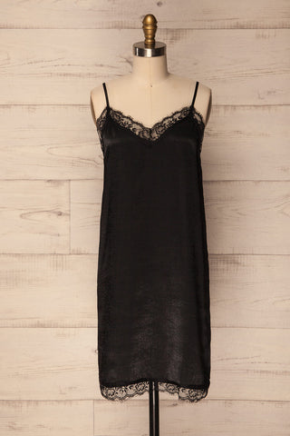 Ransart Black Satin Slip Dress with Lace | La Petite Garçonne