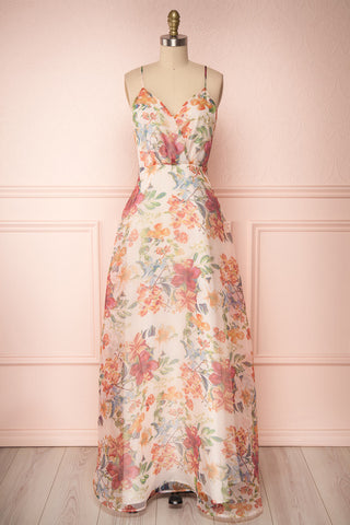 Raphyka Colourful Floral A-Line Maxi Party Dress front view | Boutique 1861