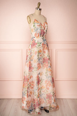 Raphyka Colourful Floral A-Line Maxi Party Dress side view | Boutique 1861