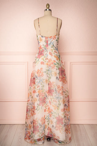 Raphyka Colourful Floral A-Line Maxi Party Dress back view | Boutique 1861