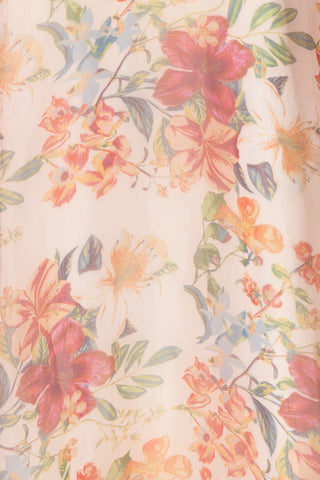 Raphyka Colourful Floral A-Line Maxi Party Dress fabric close up | Boutique 1861