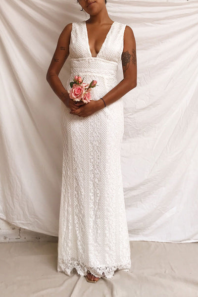 Rashmi White Crocheted Lace Mermaid Bridal Dress | Boudoir 1861 model look