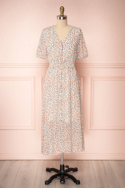 Raunui Cream Floral Button-Up A-Line Dress | FRONT VIEW | Boutique 1861