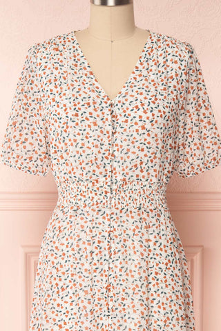 Raunui Cream Floral Button-Up A-Line Dress  | FRONT CLOSE UP | Boutique 1861