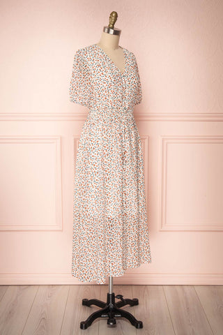 Raunui Cream Floral Button-Up A-Line Dress  | SIDE VIEW | Boutique 1861