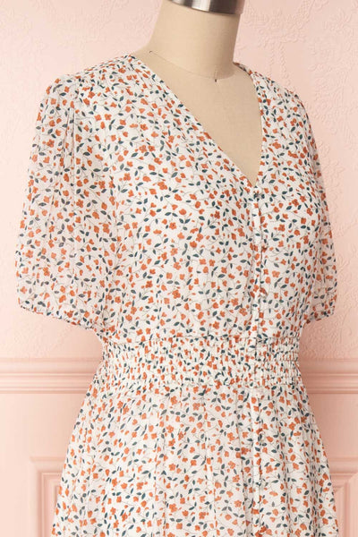 Raunui Cream Floral Button-Up A-Line Dress | SIDE CLOSE UP | Boutique 1861