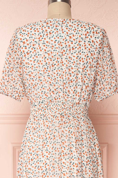 Raunui Cream Floral Button-Up A-Line Dress  | BACK CLOSE UP | Boutique 1861