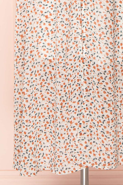 Raunui Cream Floral Button-Up A-Line Dress  | BOTTOM CLOSE UP | Boutique 1861