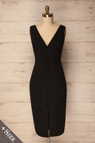 Recale Black Sparkly Plus Size Sheath Dress | La Petite Garçonne