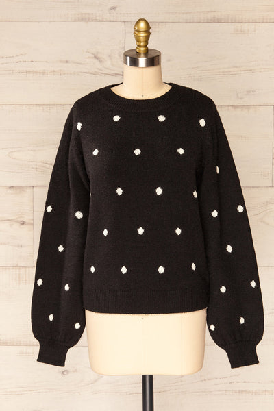Resen Black Polka Dot Knitted Top | La petite garçonne front view