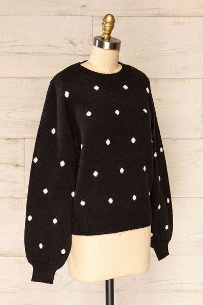 Resen Black Polka Dot Knitted Top | La petite garçonne side view