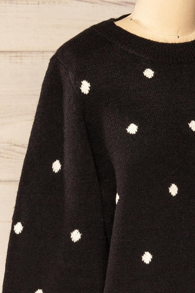 Resen Black Polka Dot Knitted Top | La petite garçonne side close-up