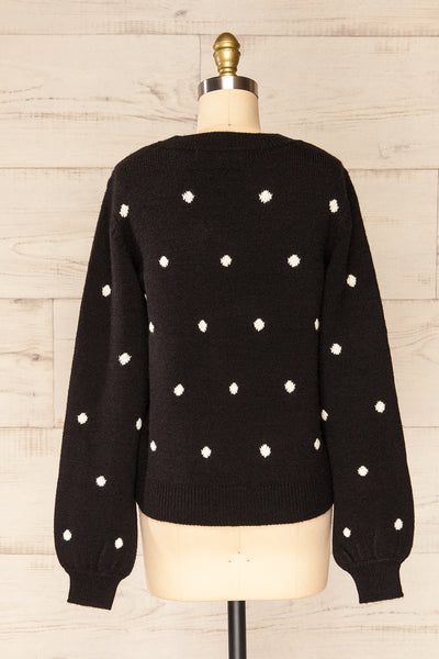 Resen Black Polka Dot Knitted Top | La petite garçonne back view
