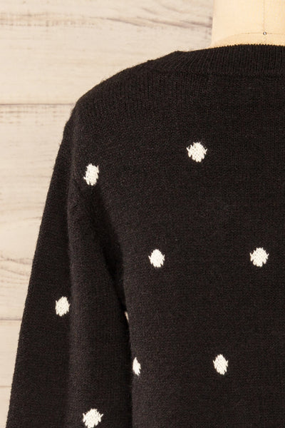 Resen Black Polka Dot Knitted Top | La petite garçonne back close-up