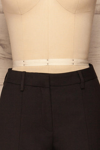 Reumont Black Tapered Dress Pants | La Petite Garçonne front close-up