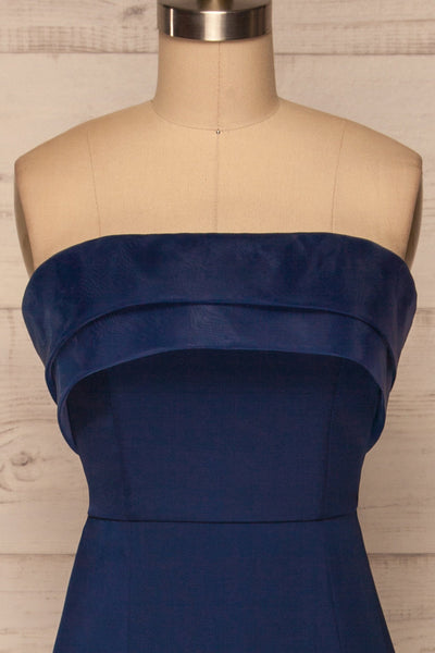 Rezina Navy Blue Strapless Maxi Dress front close up | La petite garçonne