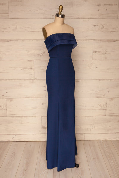 Rezina Navy Blue Strapless Maxi Dress side view | La petite garçonne