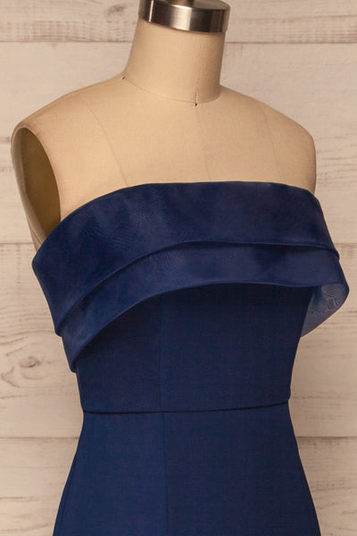 Rezina Navy Blue Strapless Maxi Dress side close up | La petite garçonne