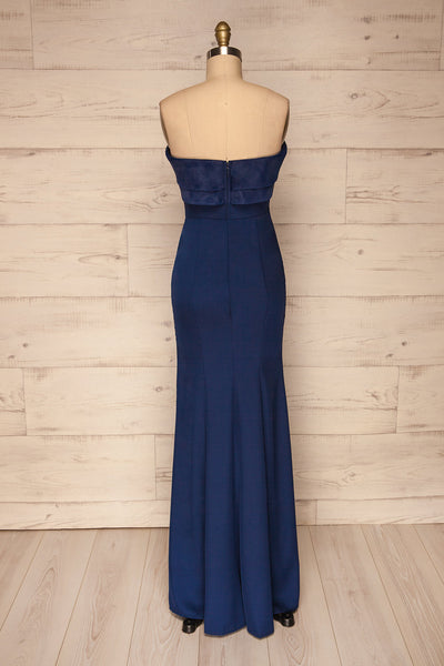 Rezina Navy Blue Strapless Maxi Dress back view | La petite garçonne