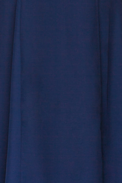 Rezina Navy Blue Strapless Maxi Dress fabric | La petite garçonne