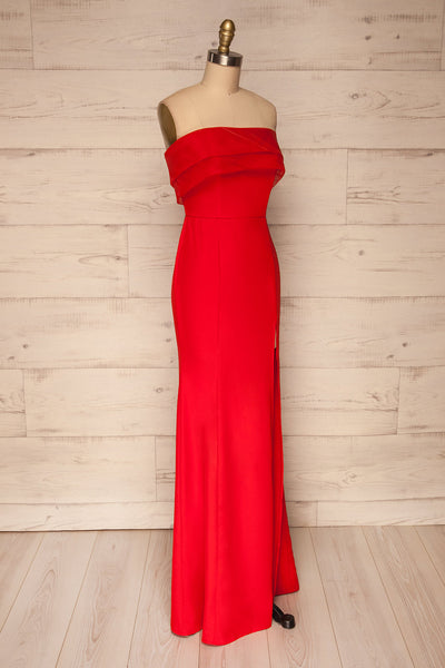 Rezina Red Strapless Maxi Dress side view | La petite garçonne