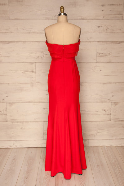 Rezina Red Strapless Maxi Dress back view | La petite garçonne