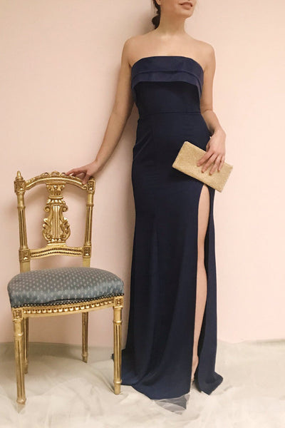 Rezina Navy Blue Strapless Maxi Dress | La petite garçonne on model