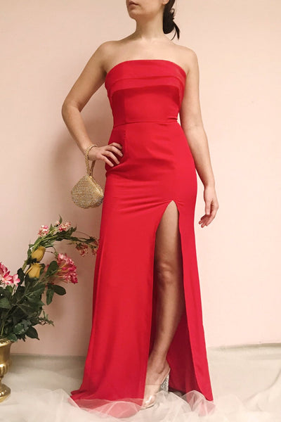 Rezina Red Strapless Maxi Dress | La petite garçonne on model