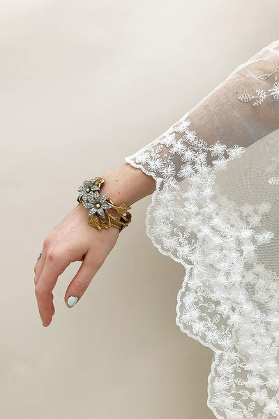 Rhododendron Antique Gold Bracelet with Crystals | Boudoir 1861 2