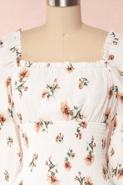 Riley White Floral Ruched Short Dress | Boutique 1861 front close up