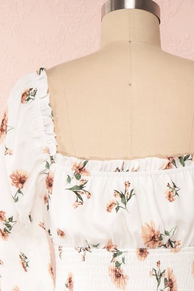 Riley White Floral Ruched Short Dress | Boutique 1861 back close up