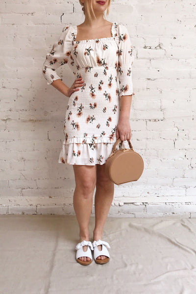 Riley White Floral Ruched Short Dress | Boutique 1861 model look