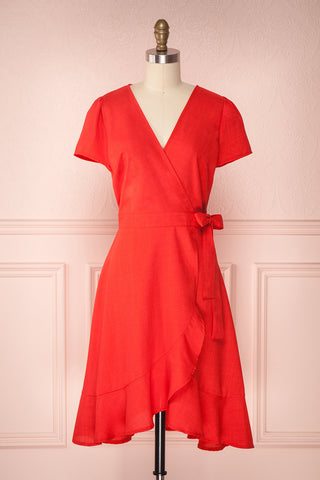 Robie Rouge Red Blue Ruffled Wrap Summer Dress | Boutique 1861