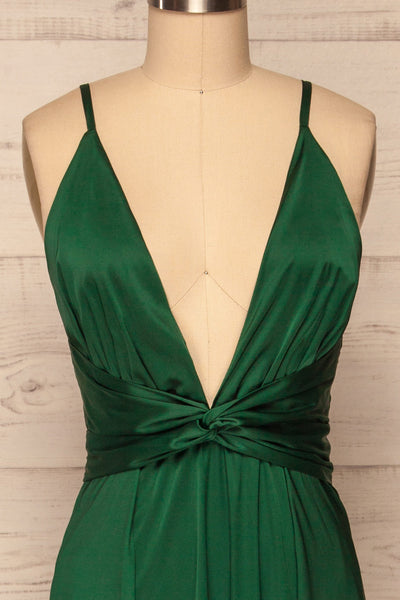 Roksem Vert Forest Green Satin A-Line Gown | La Petite Garçonne front close-up