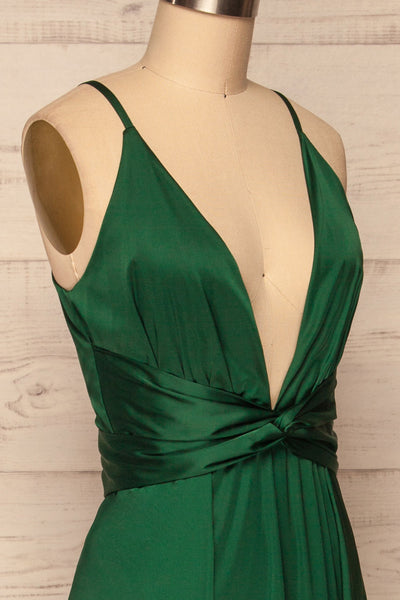 Roksem Vert Forest Green Satin A-Line Gown | La Petite Garçonne side close-up
